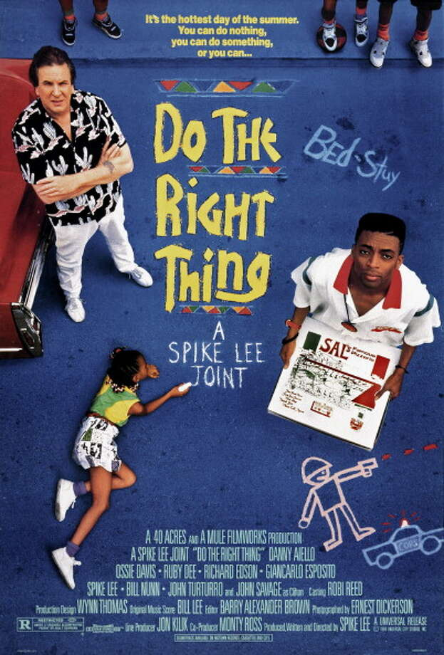 One sheet movie poster advertises 'Do the Right Thing' (Universal Pictures), director Spike Lee's drama starring Danny Aiello, Ossie Davis, Ruby Dee, Giancarlo Esposito, Bill Nunn, Spike Lee, Samuel L. Jackson and John Turturro, 1989. Photo: John D. Kisch/Separate Cinema Ar, Getty Images / Moviepix