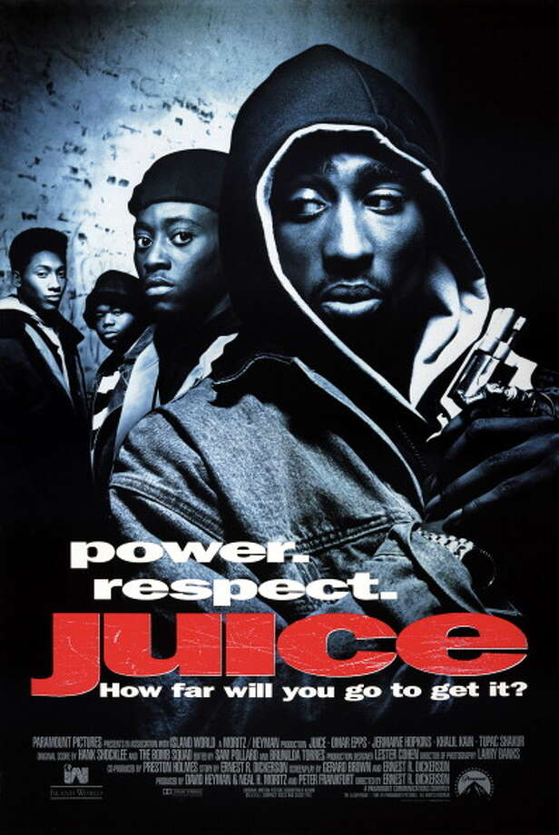 One sheet movie poster advertises 'Juice' (Paramount Pictures), directed by Ernest Dickerson and starring Tupac Shakur, Omar Epps, Queen Latifah, and Samuel L Jackson, 1992. Photo: John D. Kisch/Separate Cinema Ar, Getty Images / Moviepix