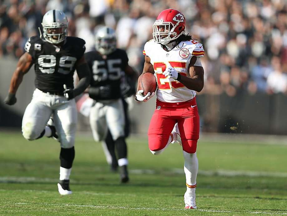 After Kansas City's Jamaal Charles scored five TDs against them last week, the Raiders are hoping for a defensive effort more similar to their work when they beat San Diego on Oct. 6. Photo: Jed Jacobsohn, Getty Images