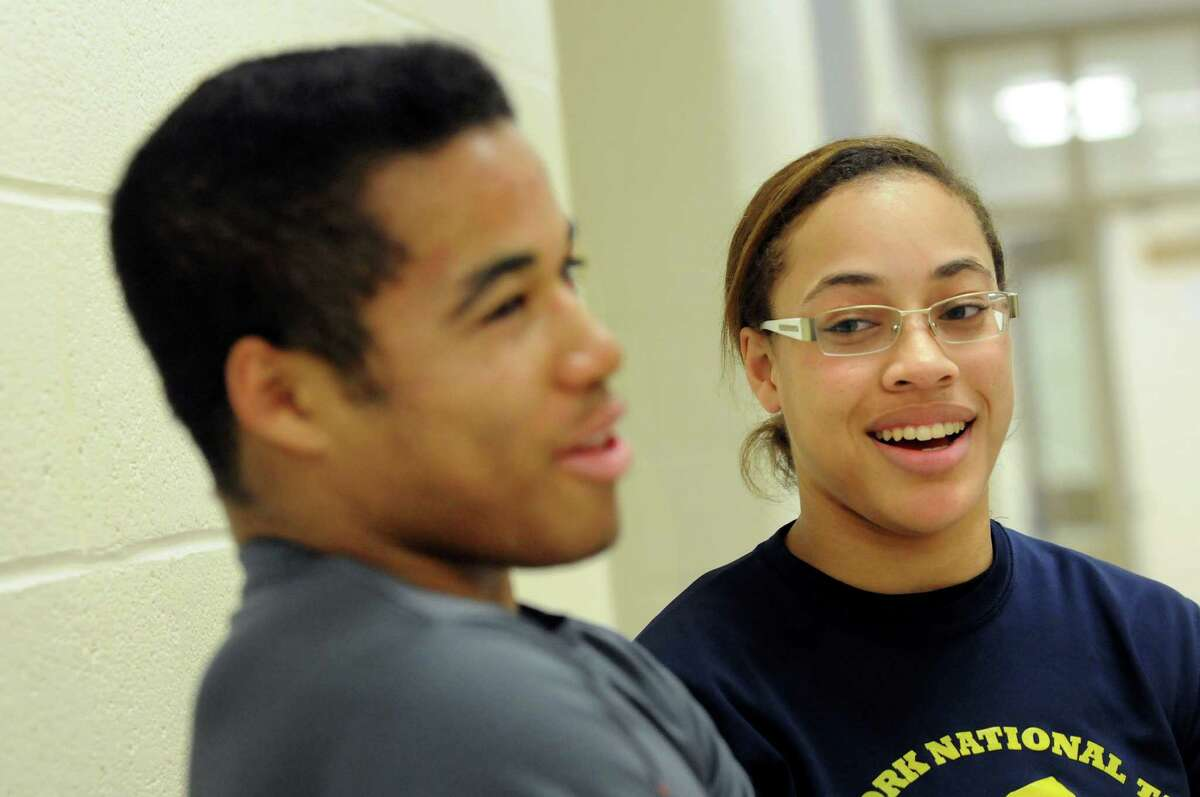 Wrestlers Alexis Porter, 17, right, and her brother Jesse Porter, 16, on Thursday, Dec. 19, 2013, at Shenendehowa High in Clifton Park, N.Y (Cindy Schultz / Times Union)