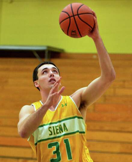 Siena's Brett Bisping during practice Saturday Dec. 21, 2013, in Colonie, NY.  (John Carl D'Annibale