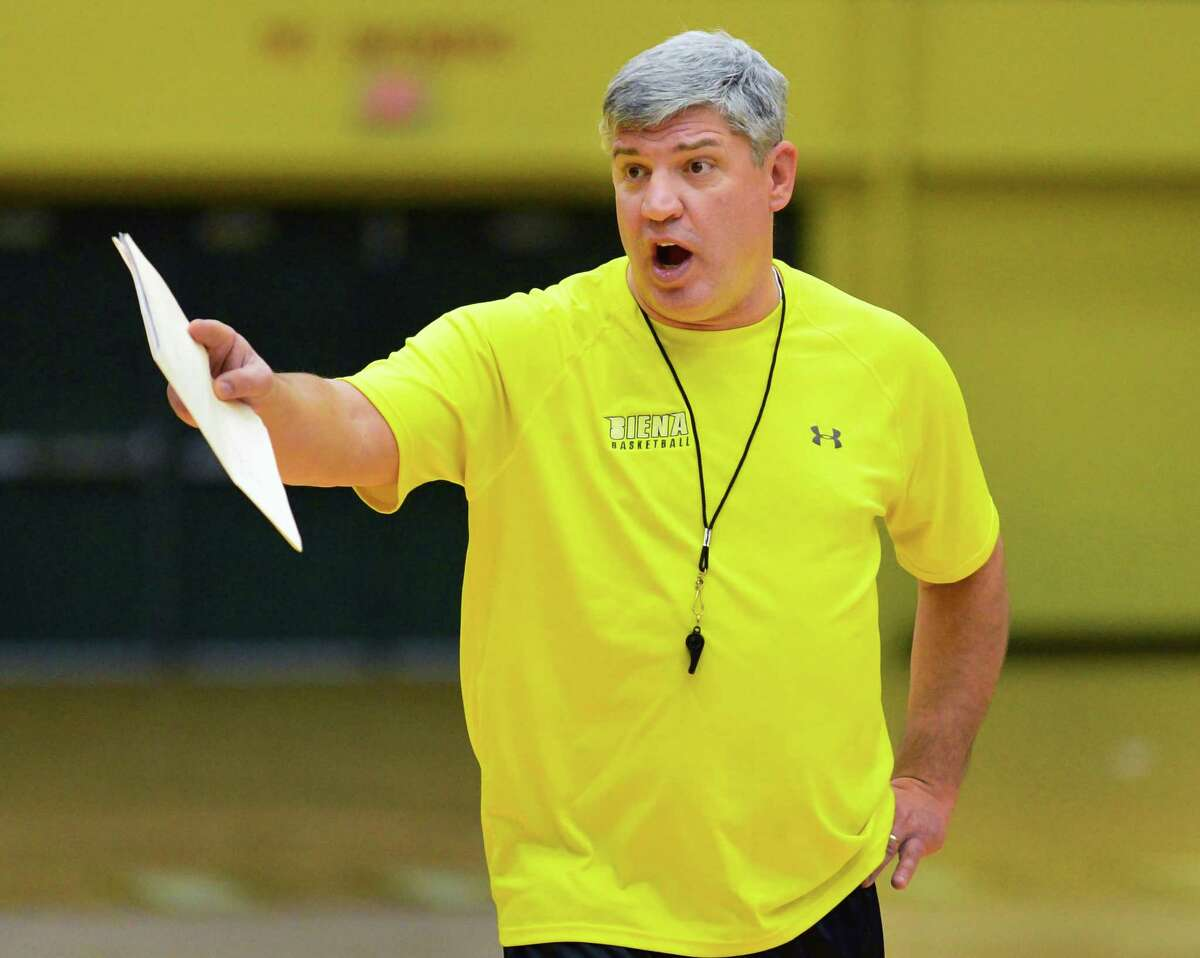 Siena's head coach Jimmy Patsos during practice Saturday Dec. 21, 2013, in Colonie, NY. (John Carl D'Annibale / Times Union)