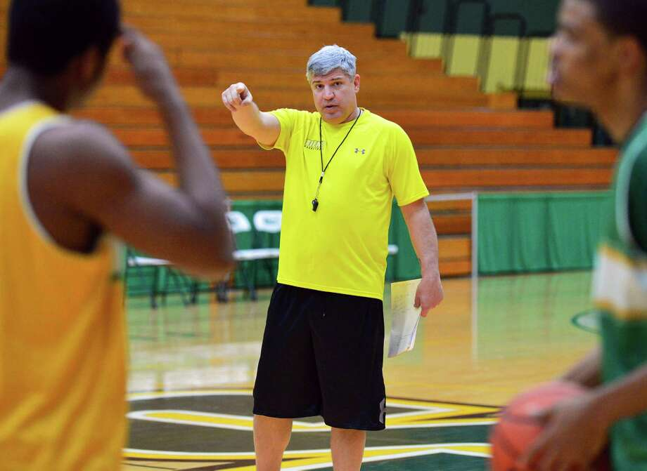 Siena's head coach Jimmy Patsos during practice Saturday Dec. 21, 2013, in Colonie, NY.  (John Carl D'Annibale / Times Union) Photo: John Carl D'Annibale / 00025113A