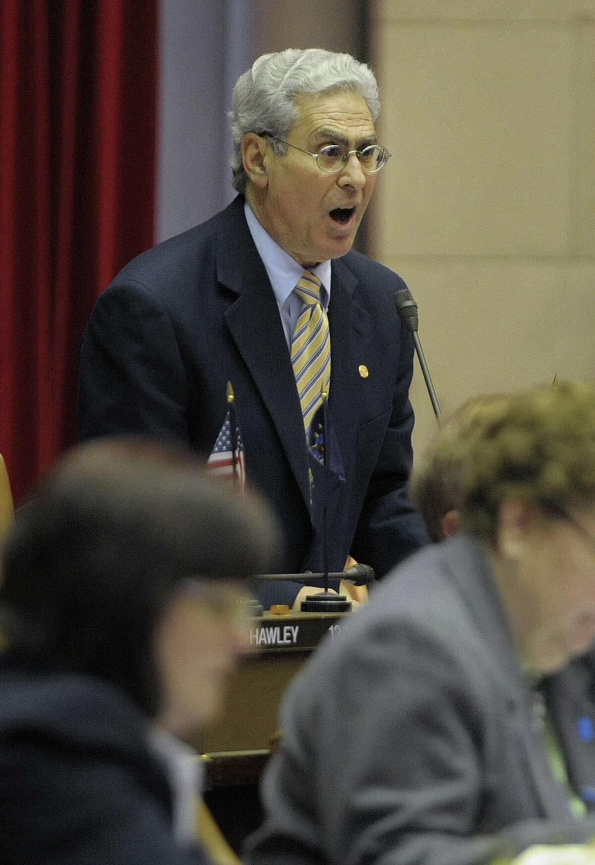 Assemblyman Steve Katz rises to speak during a recent debate in the Assembly. (Paul Buckowski / Times Union)