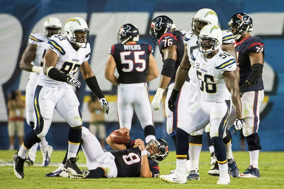 Matt Schaub was down but not out in the season opener against the Chargers. The Texans quarterback started slowly but led a second-half charge that netted one of only two victories this season. Photo: Smiley N. Pool, Staff / © 2013  Houston Chronicle