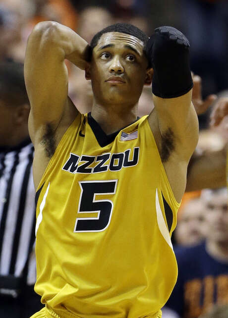 Missouri's Jordan Clarkson, a Wagner grad, reacts to a call in the No. 23 Tigers' loss to Illinois on Saturday. Clarkson paced Missouri with 25 points. Photo: Jeff Roberson / Associated Press / AP