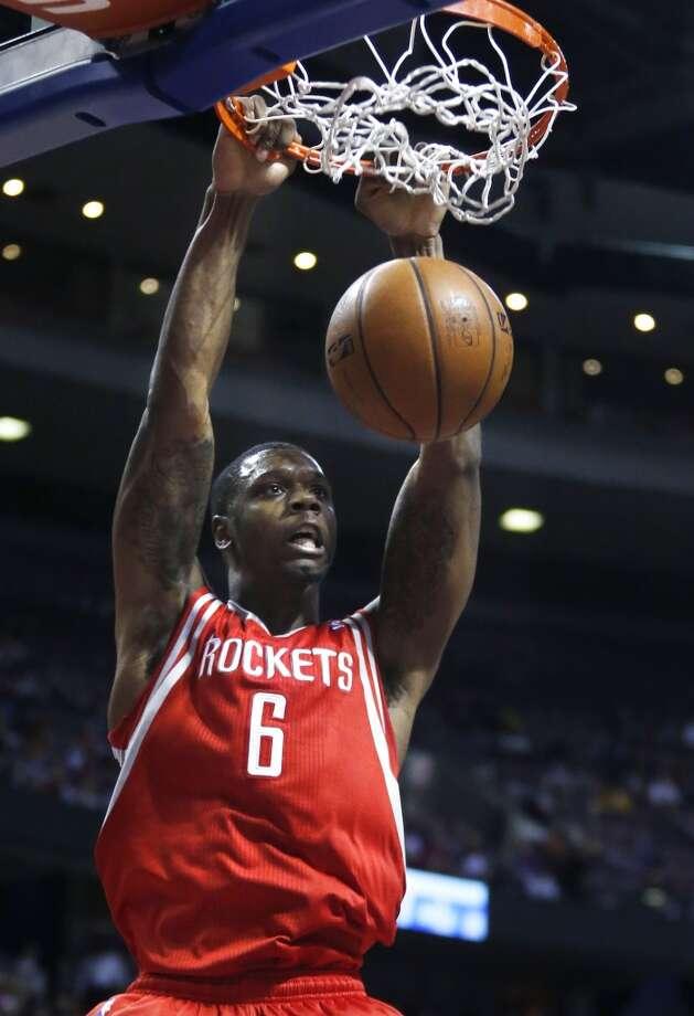 Rockets forward Terrence Jones (6) dunks. Photo: Duane Burleson, Associated Press