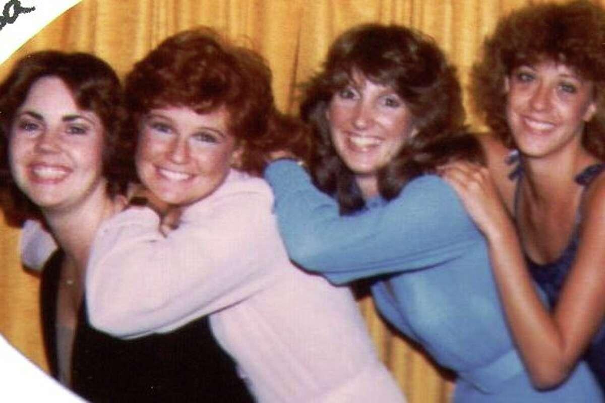 Then: left to right - Lisa Latimer Nuckolls, Katherine McGee Savage, Teresa Crosley Gannaway, Catherine Crenshaw Sheffield (1981, Lisa's wedding rehearsal dinner)