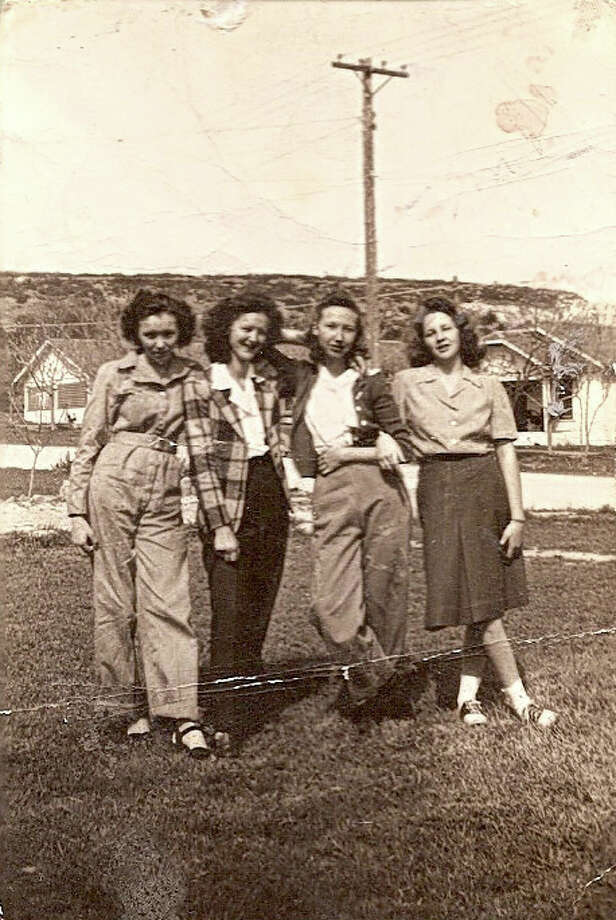 Then: In 1945 five juniors at Santa Anna High School in Santa Anna Texas celebrated Hobo days by doing odd jobs around town to earn money for the Homemaking Department of the high school.  Somewhere along the way, they posed for pictures taken with a trusty Brownie Kodak Camera. Those pictured are Evelyn Bruce Kingsbery, Wanda Henderson Johnson, Bonnie Balke Kuykendall, and Alice Anna Guthrie Spillman. Photo: Courtesy Photo / Bonnie Kuykendall