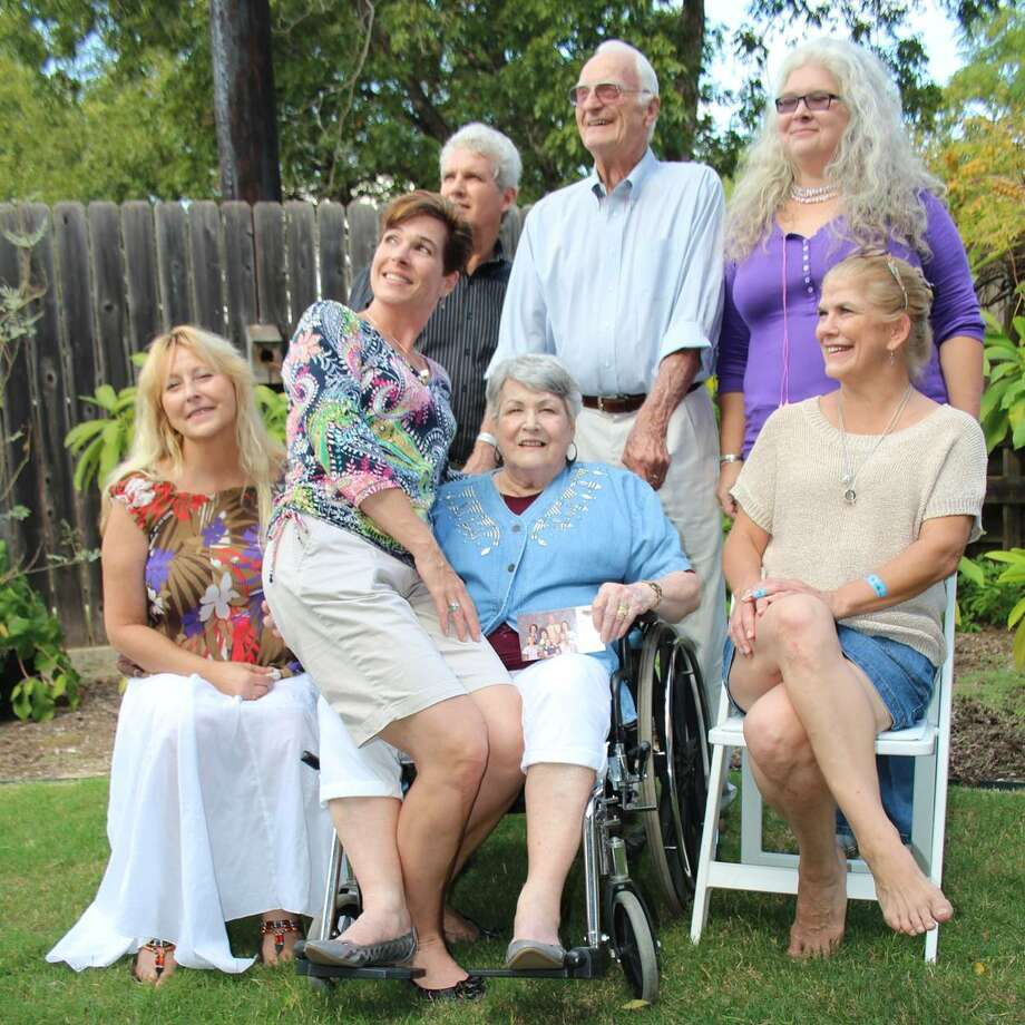 Now:In San Antonio, Sunday 27 October 2013 on the occasion of Shirley's 80th birthday. The family came together for the celebration. L-R: Tamara Albert, Michael Albert, Shirley Albert, Alicia Albert Pape, Ken Albert, Deborah Albert Richardson and Suzanne Albert. Photo: Courtesy Photo / Ken Albert