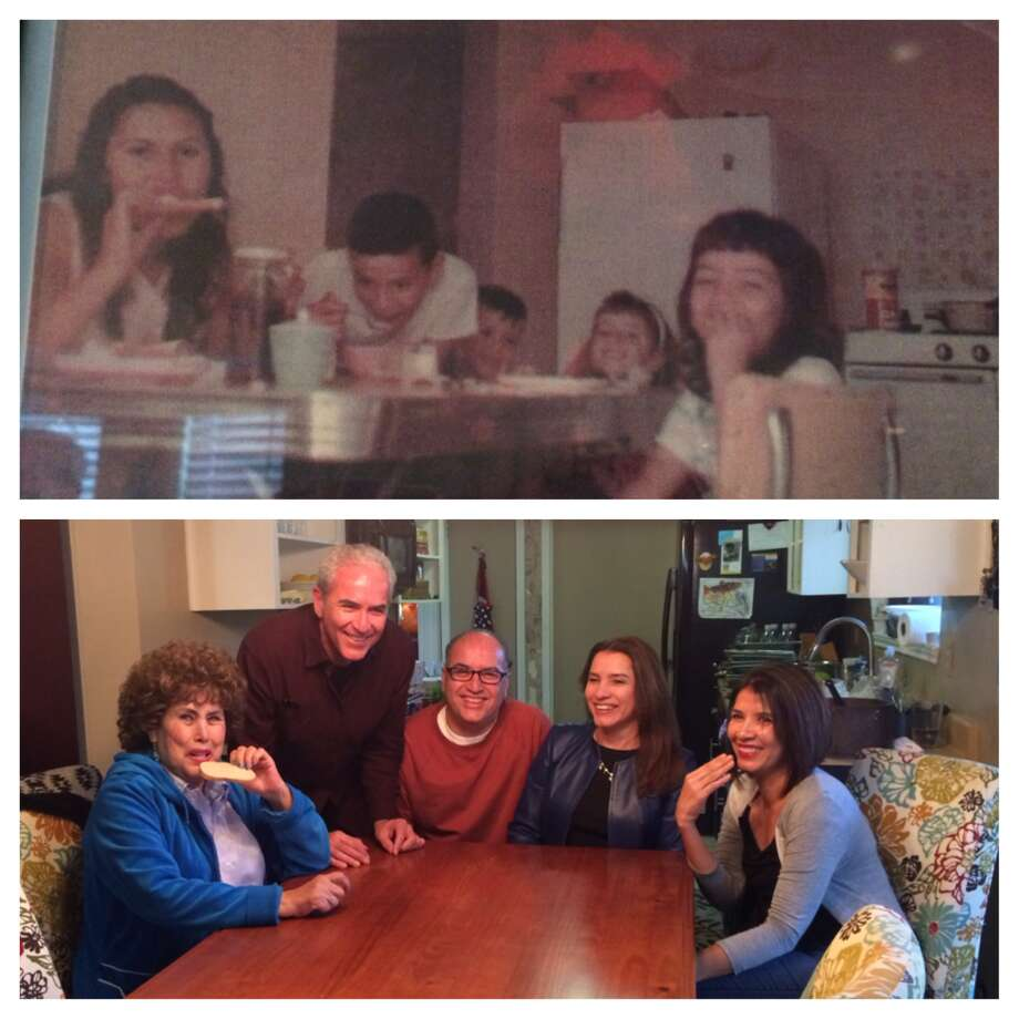 "The ""then"" photo was taken in 1965 here in San Antonio, as the Padilla family gathered around the kitchen table to eat a favorite Saturday morning meal, oatmeal and toast. From left to right are mom Tina, Javier, brother Jesse, and sisters Raquel and Yolanda. Dad Jesse Sr. took the picture. The ""now"" photo was recreated on Thanksgiving 2013, as we gathered at Yolanda's kitchen table. Mom and Yolanda still love toast, except now they eat with the other hand. Photo: Courtesy Photo / Javier Padilla"