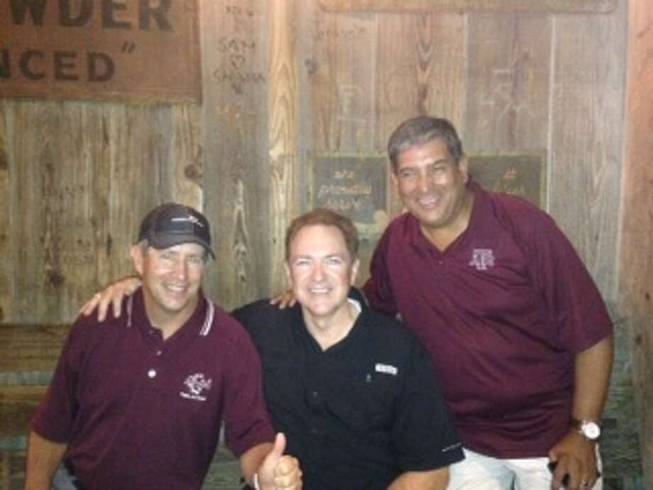 Now:  Don Jones, Barry Taylor and Jacob Gonzales at the Dixie Chicken while visiing Texas A&M in College Station in 2013. Photo: Courtesy Photo / Lydia I. Gonzales