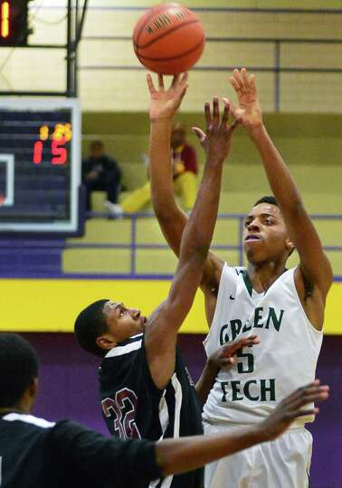 Green Tech's #5 David Clark during Saturdays game against Kingston at Troy High Dec. 21, 2013, in Tr
