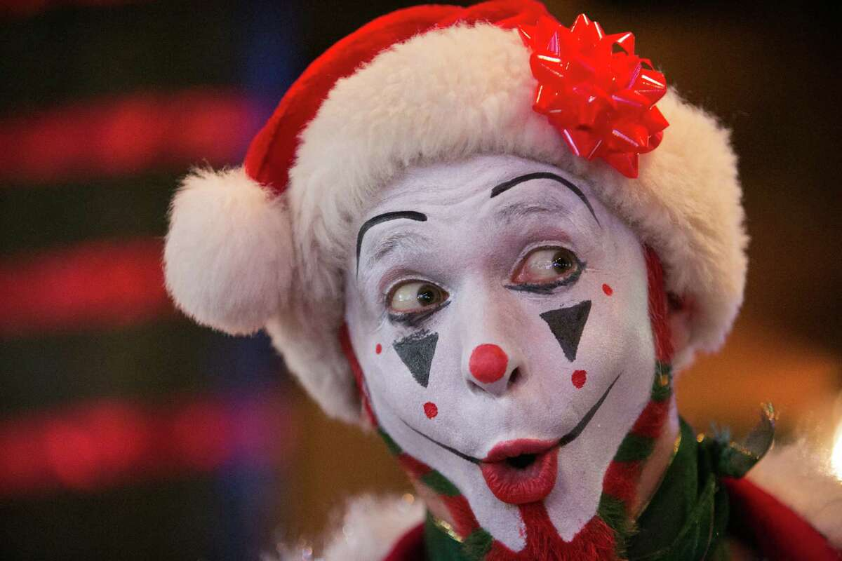 Jed Vassallo shows off his Santa Clown costume, a twist on the costume that likely would frighten even more children.