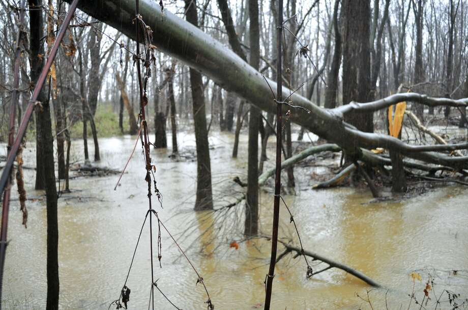 Floodwaters surround an area of low lying woodlands off of Noble Road on 1420 in Paducah, Ky., on Saturday, Dec. 21, 2013. Continuous rainfall that began Friday night accumulated approximately 4 to 5 inches which lead to flooded roads and poor driving conditions during the last holiday shopping weekend. Photo: Allie Douglass, AP / AP2013