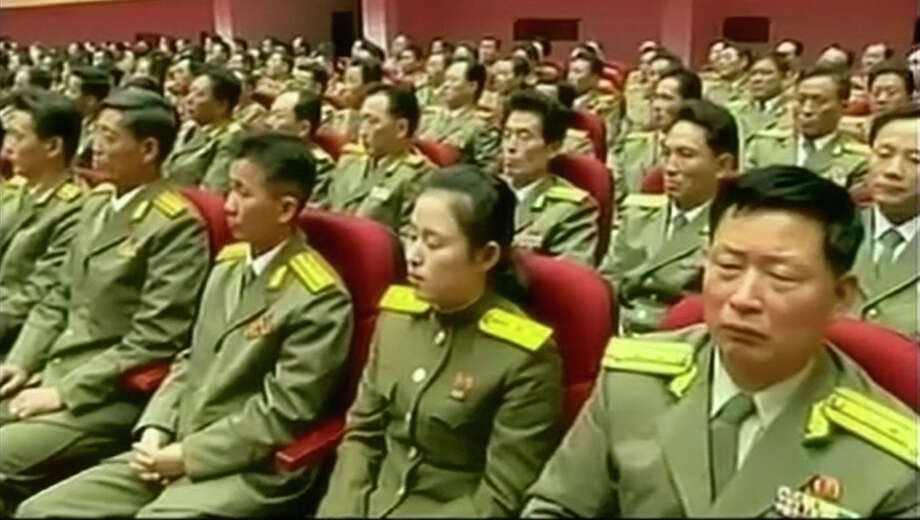 In this image taken from video, North Korean military officials attend an event to mark the second anniversary of the death of former leader Kim Jong Il, in Pyongyang, North Korea Tuesday, Dec. 17, 2013. (AP Photo/KRT via AP Video)  Photo: Uncredited, AP / AP2013