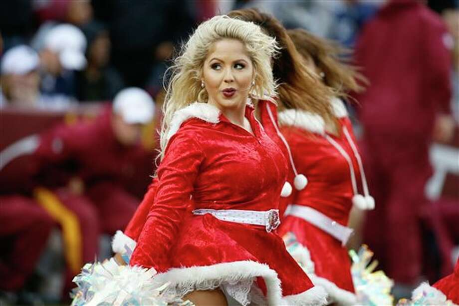 The Washington Redskins cheerleaders pre from during the second half of an NFL football game against the Dallas Cowboys in Landover, Md., Sunday, Dec. 22, 2013. Photo: Alex Brandon, AP / AP