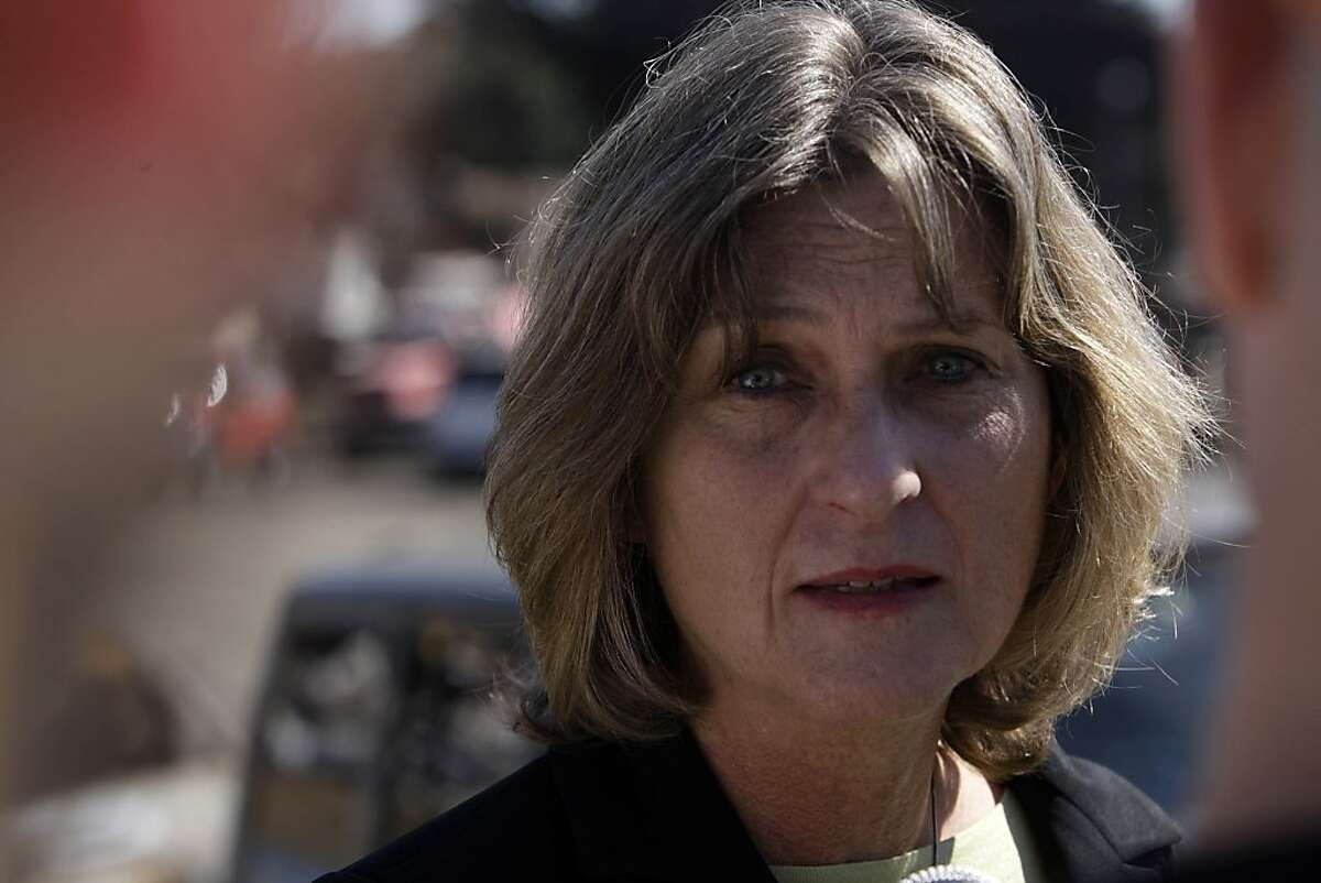 San Bruno City Manager Connie Jackson talks to the media on Claremont Avenue on Friday, September 24, 2010 in San Bruno, Calif.