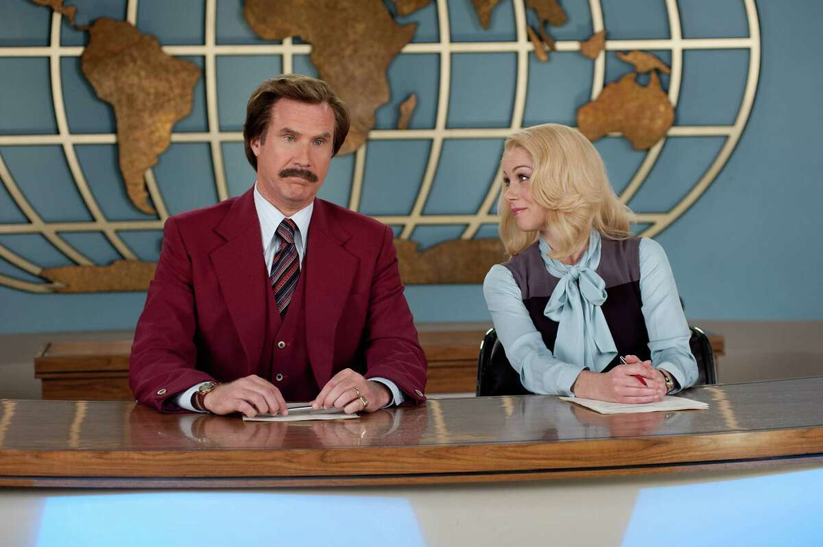 This image released by Paramount Pictures shows Will Ferrell as Ron Burgundy, left, and Christina Applegate as Veronica Corningstone in a scene from