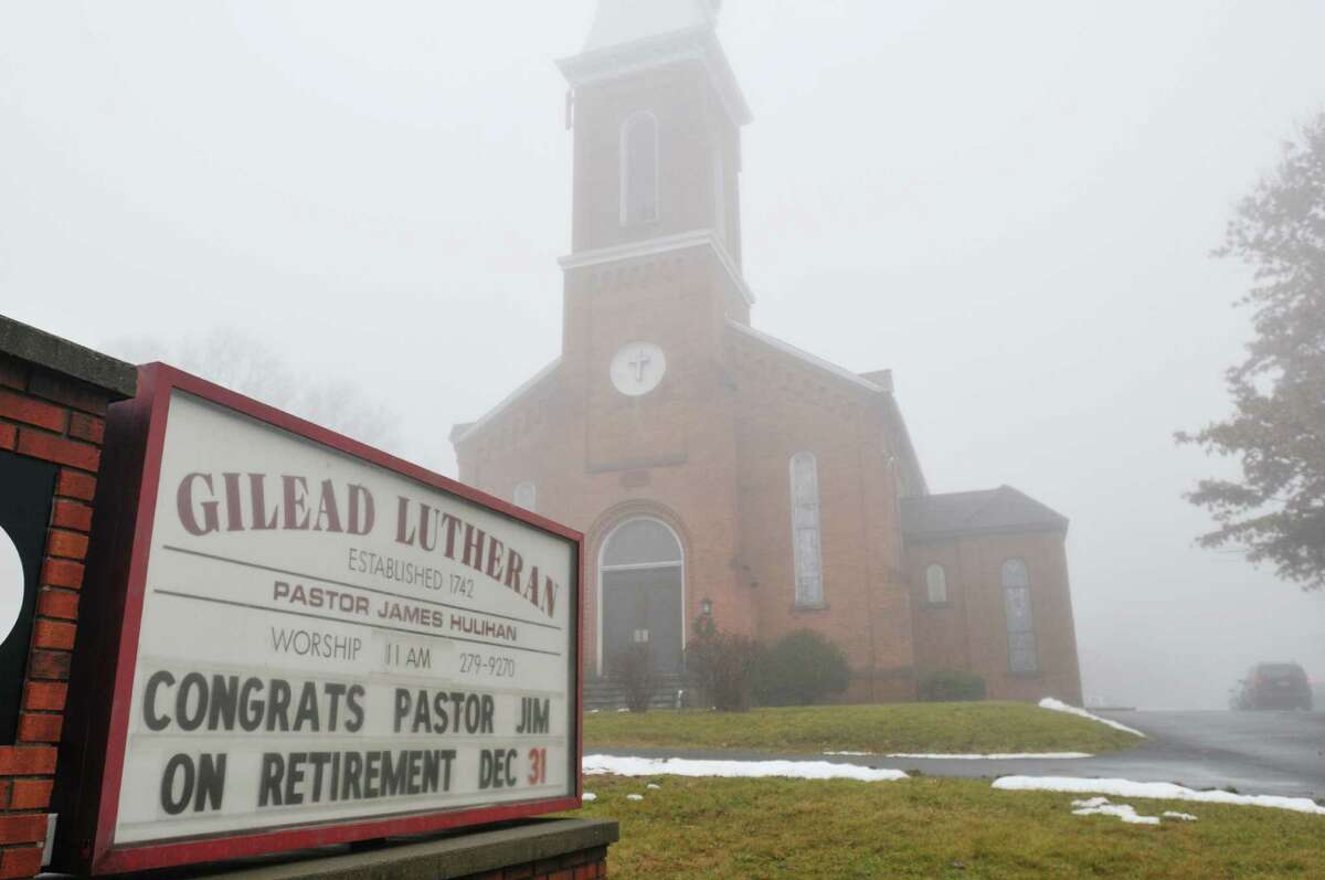 A view of the message board outside the Gilead Lutheran Church on Sunday, Dec. 22, 2013 in Brunswick, NY. A special service was held on Sunday for Pastor James Hulihan who is retiring as pastor of Trinity Lutheran Church of West Sand Lake and of the Gilead Lutheran Church of Center Brunswick. (Paul Buckowski / Times Union)