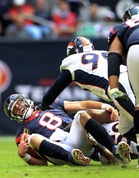 In what may have been his final game at Reliant Stadium as a member of the Texans, quarterback Matt Schaub failed to find his footing in Sunday's 37-13 loss to the Broncos. Photo: Karen Warren, Staff / © 2013 Houston Chronicle