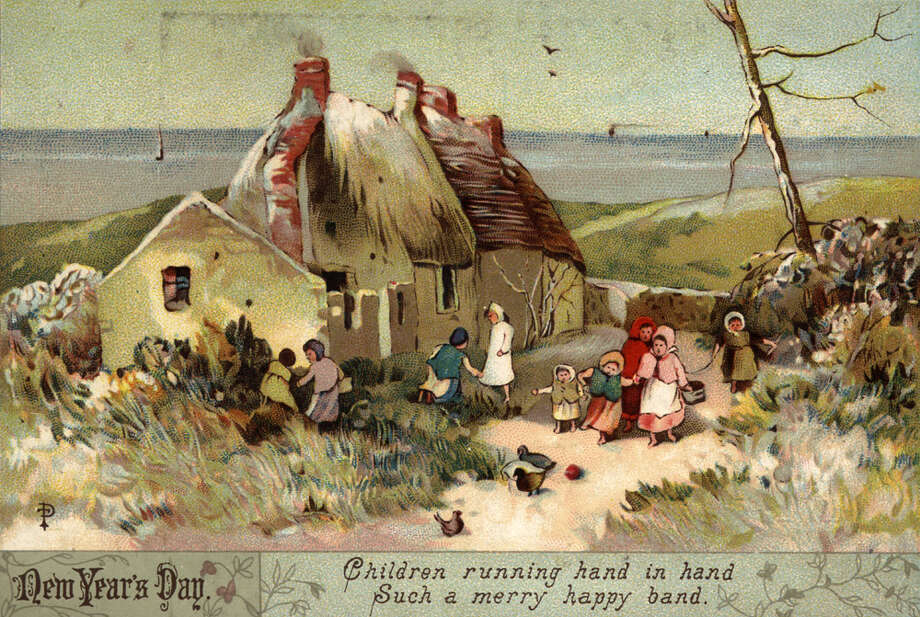 Children play by a cottage on this New Year's greetings card dated January 1890. Photo: Hulton Archive, Getty Images / Hulton Archive