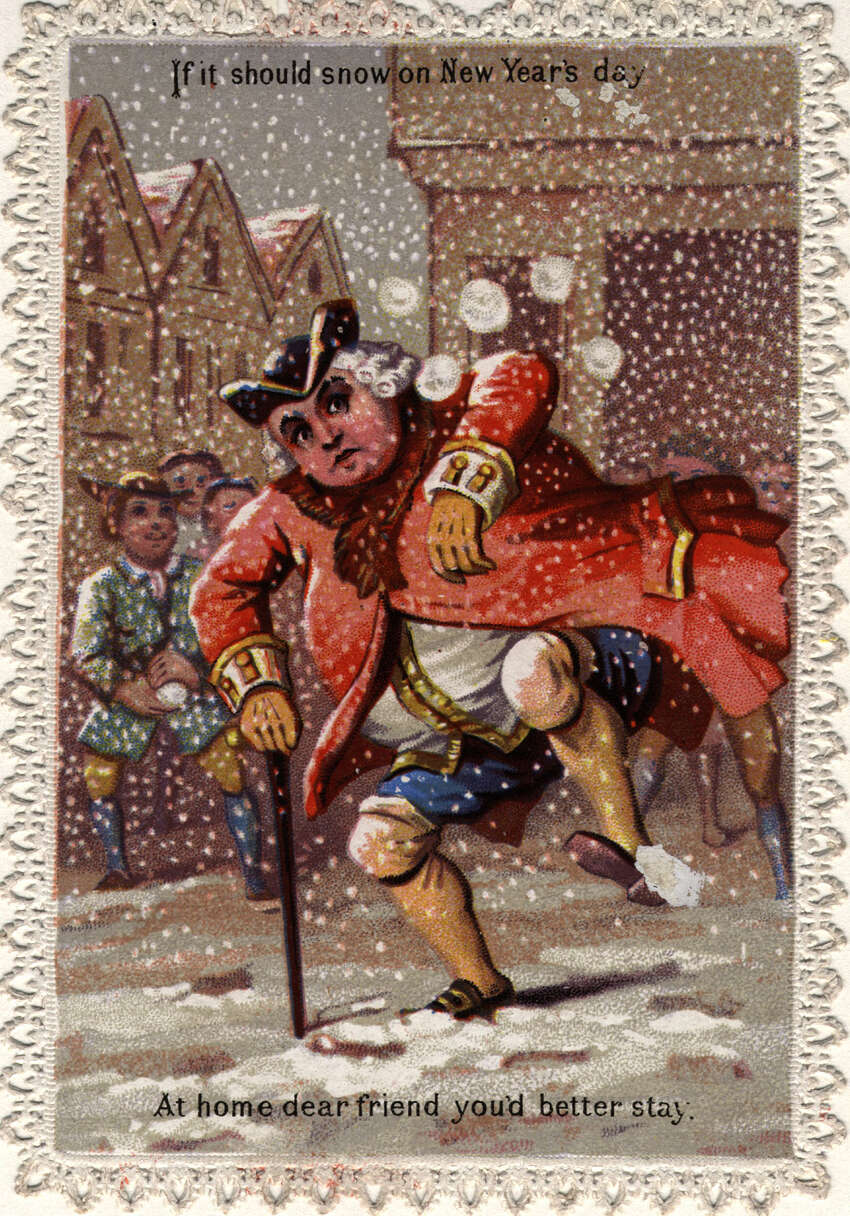 A man is the target of snowballs on this Victorian New Year's greetings card, circa 1873.