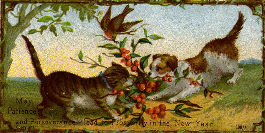 A greetings card wishing the recipient prosperity in the New Year, circa 1885. Photo: Hulton Archive, Getty Images / Hulton Archive