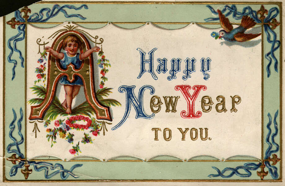 A New Year's greetings card, circa 1881. Photo: Hulton Archive, Getty Images / Hulton Archive