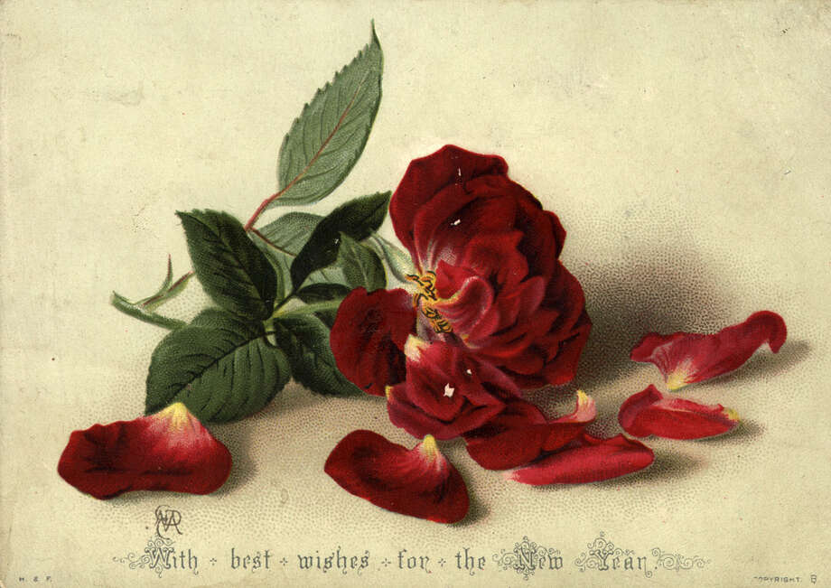A dying flower is the subject of this New Year's greetings card, circa 1885. Photo: Hulton Archive, Getty Images / Hulton Archive