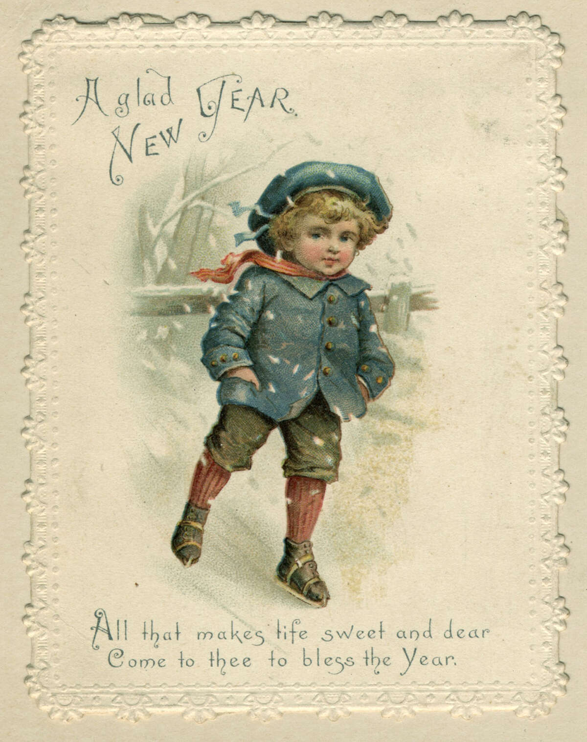 A young boy skates over ice on this sentimental Victorian New Year's card, circa 1871.