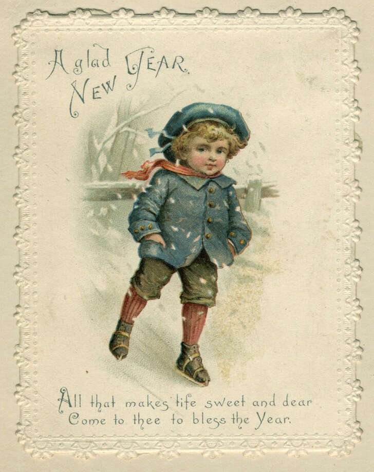 A young boy skates over ice on this sentimental Victorian New Year's card, circa 1871. Photo: Hulton Archive, Getty Images / Hulton Archive