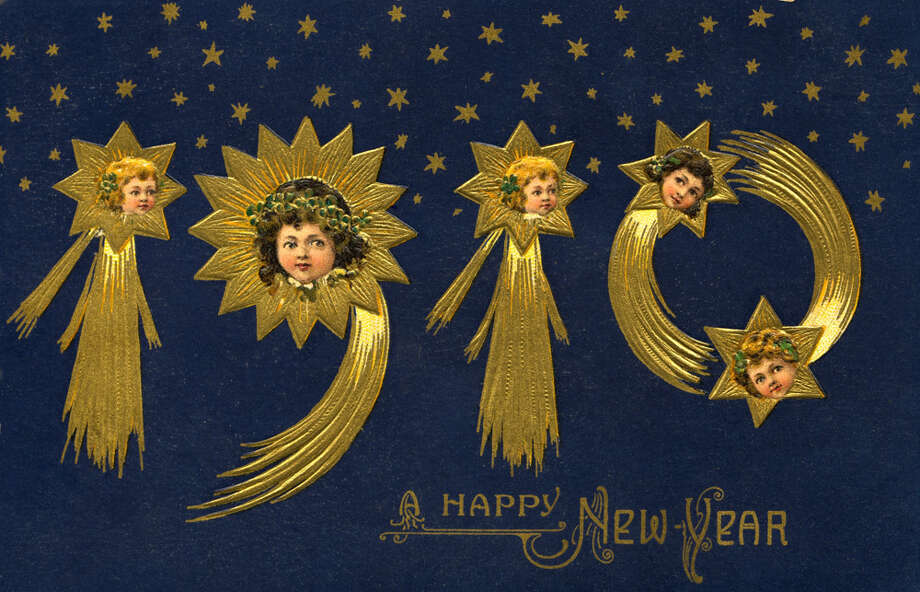 "A postcard of wishes ""A Happy New Year"" in 1910. Photo: UniversalImagesGroup, Getty Images / Universal Images Group Editorial"