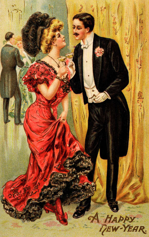 A vintage color illustration featuring a formally dressed couple drinking champagne with New Year's greetings, circa 1900. Photo: Popperfoto, Getty Images / Popperfoto