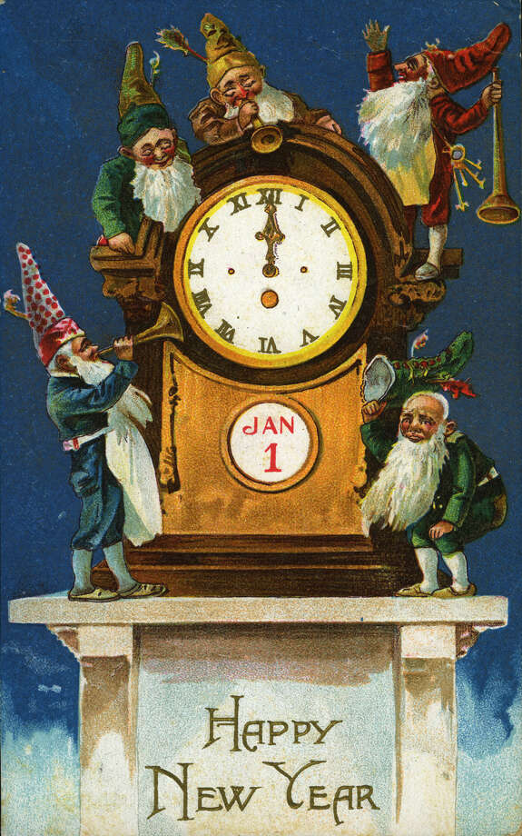 "This ""Happy New Year"" postcard features a group of gnomes attending a clock approaching midnight, printed around 1910. Photo: Transcendental Graphics, Getty Images / 2006 Mark Rucker/Transcendental Graphics"