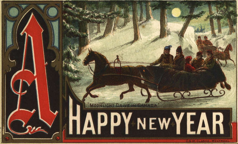 "This lithographed card from Montreal around 1880 wishes you ""A Happy New Year."" Photo: Transcendental Graphics, Getty Images / 2006 Mark Rucker/Transcendental Graphics"