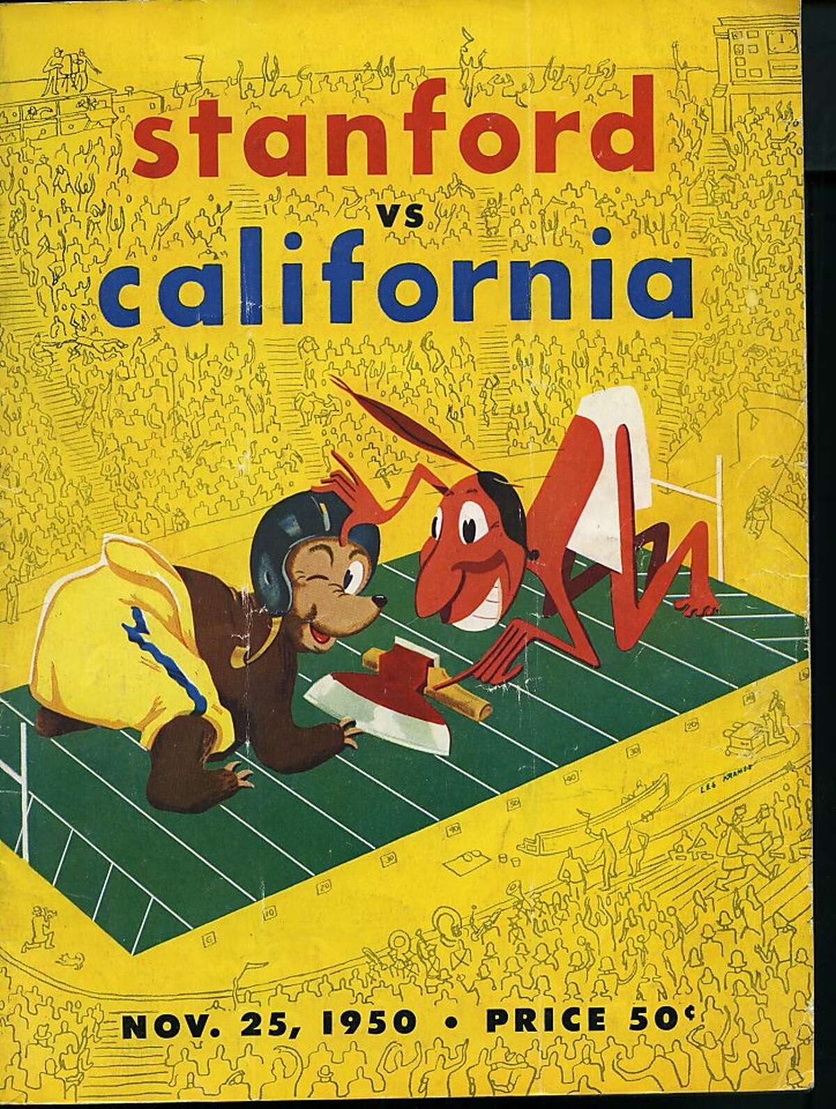 Stanford vs Cal Big Game official game program 1950 courtesy Don Figone
