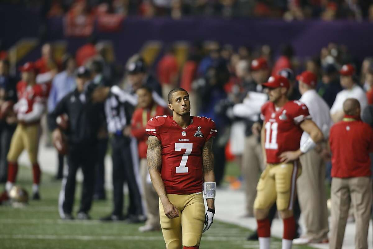 Quarterback Colin Kaepernick (7) in the second half during the lights out that happened in the third quarter of Superbowl XLVII between the San Francisco 49ers and the Baltimore Ravens at the Mercedes-Benz Superdome on Sunday February 3, 2013 in New Orleans, La.