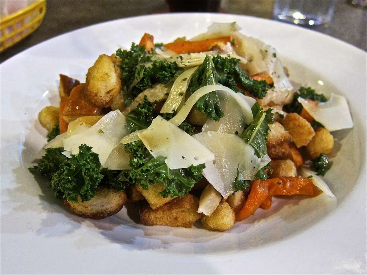 Warm fall panzanella salad with root vegetables, gruyere & kale at Good Dog Houston.