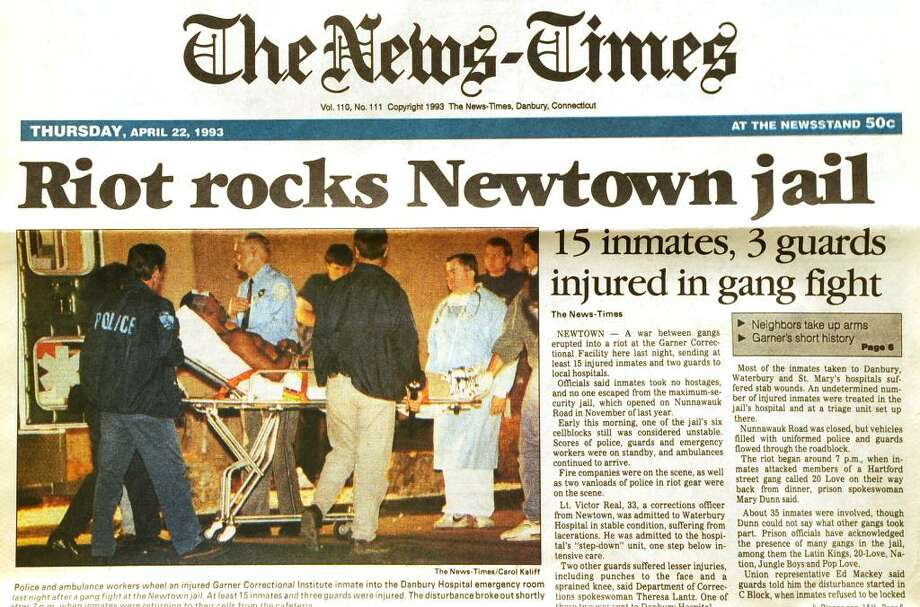 The front page of The News-Times Thursday, April 22, 1993, the day after a riot at Garner Correctional Institution in Newtown. Photo: File Photo / The News-Times File Photo