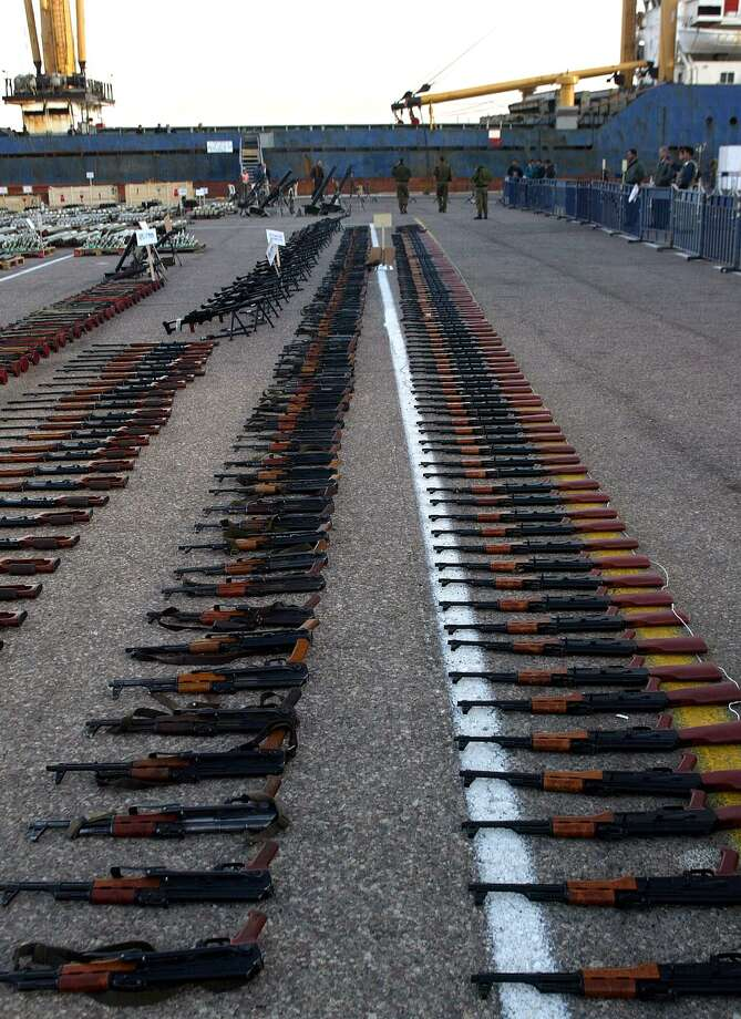 2002: Russian-made AK-47 rifles seized on the cargo ship Karine A are on display in the Israeli Red Sea port of Eilat. Photo: SVEN NACKSTRAND, Getty Images / AFP