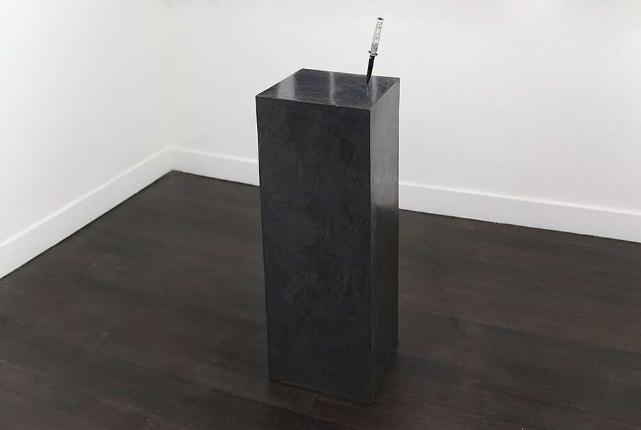 """Black Faux Marble Foam Pedestal With Mother of Pearl Hunting Knife"" (2013), mixed-media sculpture by Olivia Erlanger. Photo: Unknown"