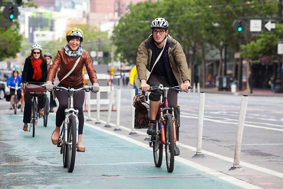 Market Street, San Francisco's busiest bikeway, averages 3,000 trips per weekday by bike - and that's just measuring inbound. Photo: Myleen Hollero