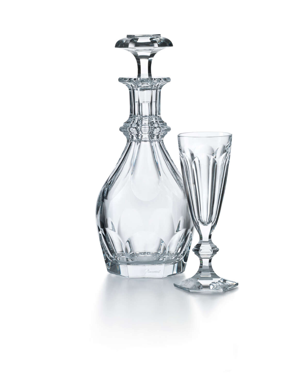 Harcourt decanter and champagne flute by Baccarat; $1,250 (decanter) and $210 (flute) at Baccarat in the Galleria.