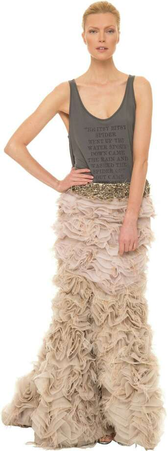 Pale pinks and mixed proportions are trending for New Year's Eve. Tank, $125, and skirt, $4,950, by Haute Hippie available at neiman marcus.com or haute hippie.com. Photo: Haute Hippie / ONLINE_YES