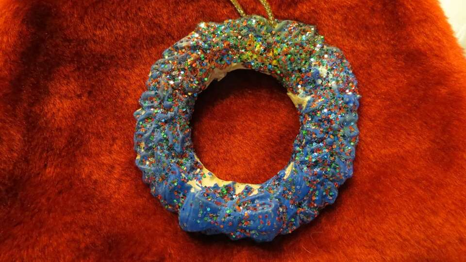 Ernie and Linda Brown, The Woodlands: This ceramic wreath was the first art project our son brought