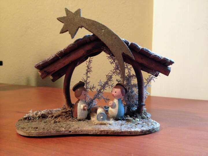 Virginia Hill, The Woodlands: This tiny, 3x4 inch creche scene was acquired the first year of our ma