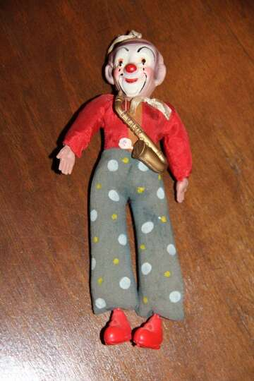 Marcy Keating, Atascosita: My saxophone playing (crying?) clown ornament was given to me on Mardi Gr