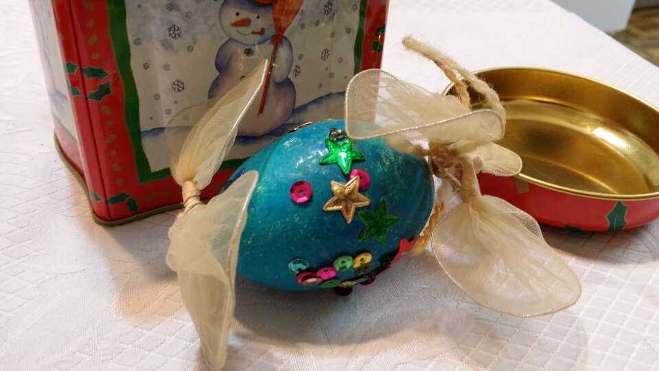 Anice Divin, Richmond: My daughter made this ornament over 40 yrs. ago at a preschool friends Christ