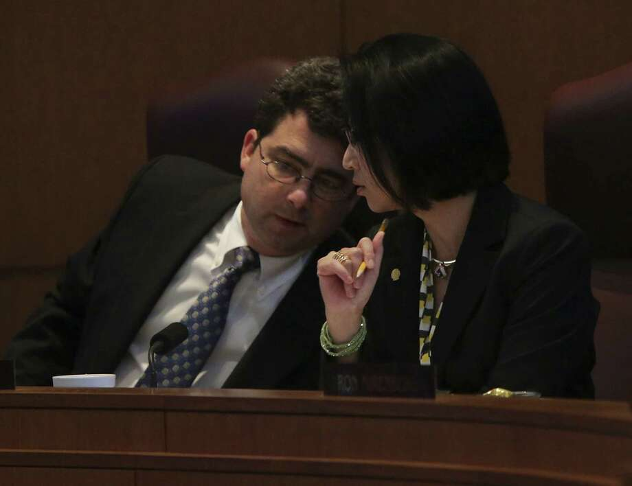 "A reader defends City Councilman Carlton Soules, shown conferring with Elisa Chan, against the claim in a recent Express-News column that he is a ""bully."" Photo: Bob Owen / San Antonio Express-News / ©2013 San Antonio Express-News"